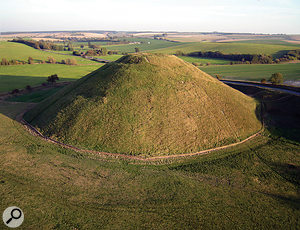 Silbury Hill is a massive man-made conical earthwork near Avebury.