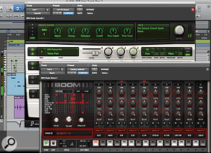 Two of the principal instruments bundled with Pro Tools Express: the Xpand2 sample-based synthesizer and the Boom drum machine.
