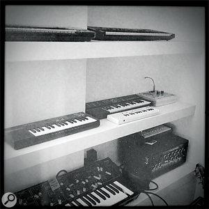 'Toy' instruments at Blanco's studio, including aCasio VL1, Indian harmonium, Suzuki Omnichord, aukulele and achild's glockenspiel.
