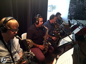 Each sax got its own mic: two AKG C414s, an MXL ribbon and a  Rode capacitor mic.