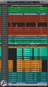 This Logic screenshot shows how the projects ended up. At the top are the draft MIDI parts that the brass players recorded to. Below them are, in order, the drums and percussion tracks (brown), electric bass (blue), acoustic and electric guitars (aquamarine), vibes (purple), piano (olive), trumpets (turquoise), trombones (ochre), saxes (dark blue-green) and lead vocal (blue).