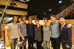 The yMusic ensemble at Grand Victor. Left to right: CJ Camerieri (arranger and producer, French horn, trumpet), Rob Moose (arranger, composer and producer, violin), Ben Folds, Nadia Sirota (viola), Alex Sopp (graphic design, flutes and piccolo), Gabriel Cabezas (cello) and Hideaki Aomori (clarinet, bass clarinet).