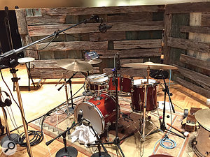 The drum miking setup. Although close mics were recorded, most of them were not used at the mix.