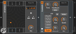 A bundled XY Effect plug–in is actually a host for up to four other native–format or VST plug–ins. Here the plug–in hosted in slot A, Flanger, itself has a  'Wet FX' plug–in slot.