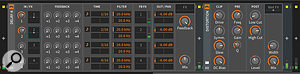 There's just one new device in Bitwig 1.3, this four–tap delay. A  useful plug–in in its own right, it can also host other plug–ins within its delay lines. Here the Distortion plug–in has been inserted into delay line number 2. If this doesn't get your creative audio treatment juices flowing...