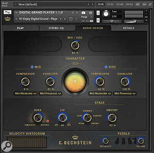 Digital Grand's Audio-Design page, with various stereo and tone control options.