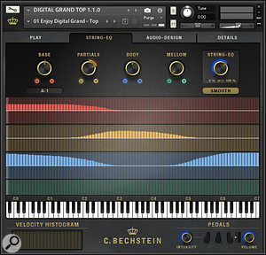 One for the budding piano technicians out there, the various String-EQ options apply per-note tweaks of harmonic intensity, decay shape and crispness of attack.