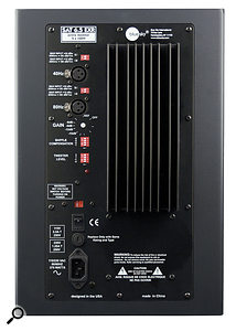 Two inputs are provided, for either full‑range operation or for use with asub, and arow of DIP switches allows the user to adjust the relative levels of low and high frequencies.