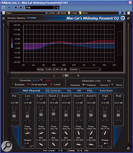 Blue Cat's Widening Parametr'EQ provides an effective way to open out a mix by EQ'ing the Mid and Sides components separately.