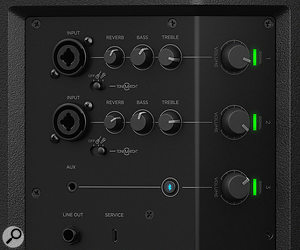 The S1 features a built‑in three‑channel mixer, with two mic/line inputs and one line input that can also accept a Bluetooth source.