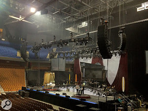 The touring rig is a  d&b audiotechnik J-series PA system.