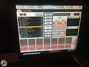 Clint favours Avid Venue consoles, and makes extensive use of their snapshot automation feature.
