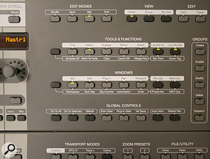 Many of the most–used functions within Pro Tools can be called up from the buttons at the top right of the console.
