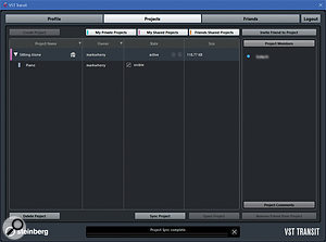 The VST Transit Projects page shows a  list of projects. Here you can see I've added my piano sketch and shared it with a  user who is listed under Project Members. The blur is of my doing rather than Cubase's!