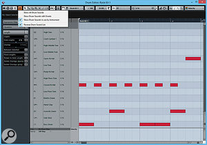 The improved Drum editor now offers Drum Visibility Agents, and here you can see that I'm showing only the drum sounds in use by this particular Groove Agent SE preset. I've also reversed the order, which I've found actually makes it easier to read. Also, notes can optionally be displayed as rectangles, allowing you to see the length of a  note.