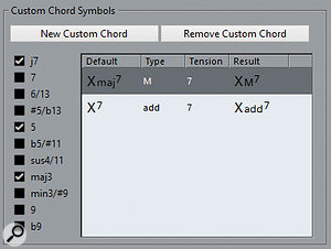 The Custom Chord Symbols section in Preferences enables you to specify how certain chords are written, overriding the defaults.
