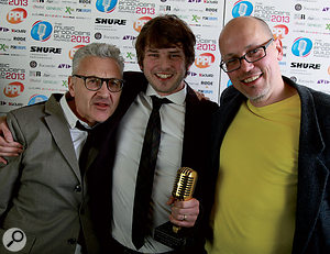 A jubilant Charlie Andrew celebrates his MPG Breakthrough Producer Award with Clive Langer (left) and the author at the ceremony at London's Cafe de Paris. The award was sponsored by Focusrite in association with Sound On Sound.