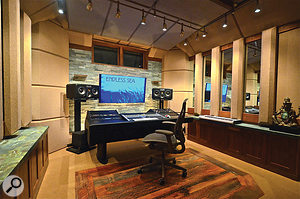 In a  typical small–studio control room, the height and position of the monitors means that reflections from floor, ceiling and side walls all arrive at the listening position at similar times, with the resultant comb-filtering causing a  dip at around 125Hz. The problem is alleviated in this room in Aspen, Colorado, by Carl Tatz's PhantomFocus system.