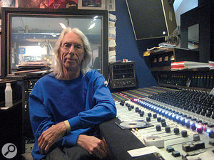 Wayne Moss at the custom Flickinger console in Cinderella Sound.