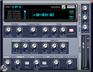 The Edit screen for instruments has essential parameters, and the ability to write the edited Part to a custom Bank of sounds.