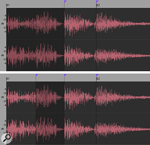 The first slice in the top waveform has two distinct sounds. Atransient marker in the lower waveform indicates the start of the second sound.