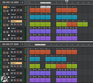 Screen2: Inserting clips from one track into another clip (top), and the results of removing clips from several tracks (below).