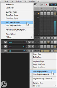 You can go up to the Row menu option to choose particular functions (top menu), but it can be easier to right-click on a step sequencer row (lower menu).