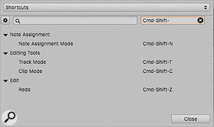 The keyboard shortcuts window is now searchable, either by command or by key.