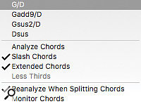 You can freely edit the chord track or choose plausible alternatives from apop-up list.