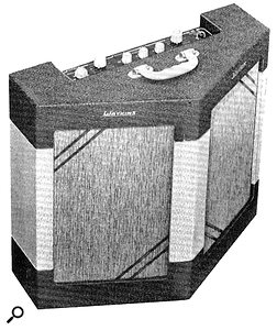 The Watkins Dominator, with its distinctive V–shaped cabinet, intended to better project the sound of an electric guitar into an audience.