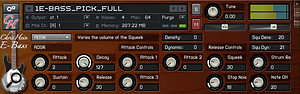 The ADSR controls page includes options such as Squeek and Stop Noise for added realism.