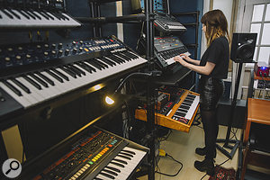 The success of Chvrches' debut album allowed the band to indulge their passion for synths. At the front of the picture are a  Korg MS20 Mini (just visible at top), Korg Polysix and Roland Jupiter 8; behind them are the Moog Sonic Six, Roland Juno 106 and Moog Voyager.