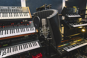 The vocal recording setup used for first album The Bones Of What You Believe: an Advanced Audio CM48 mic and SE Electronics Reflexion Filter.