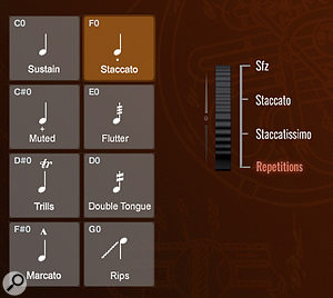 When the Staccato keyswitch is active, the right side of the GUI shows the short note variations selectable either by moving the mod wheel or by keyswitch velocity.