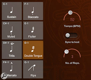 Double-tonguing speed can either be set manually to a specific tempo, or sync'ed to the host DAW. The number of repetitions is controlled by CC1.