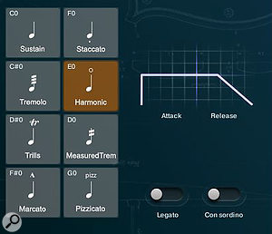 When Legato is turned off, the instrument plays polyphonically, and the Legato controls are replaced by an interactive Attack/Release envelope graphic.