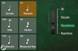 When the Staccato articulation is active, four lengths of shorts are revealed that can be selected using CC1. Keyswitch velocity will also determine which of the four shorts is chosen.