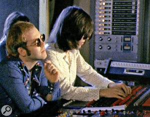 Elton John and David Hentschel at the console in the Château d'Hérouville.