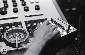 Studio 3's 16‑track Frank DiMedio custom‑designed valve console and the remote control for the 3M tape machine.