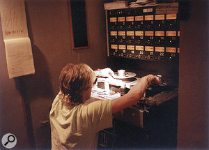 Flemming Rasmussen editing tape with One On One's Studer A800.