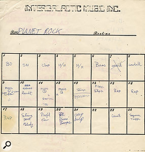The original track sheet for 'Planet Rock' and 'Play At Your Own Risk', which were recorded together on the same section of tape.