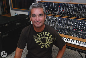 Gary Olazabal, pictured in Wonderland, 2007. Behind him you can see Stevie's Moog Modular system and Rhodes piano.