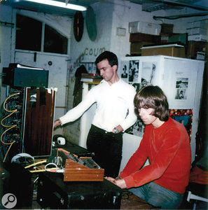 Chris Carter and Peter Christopherson recording the Throbbing Gristle single 'Adrenalin' at the TG/IR studio, 1980. Equipment: Roland RE301 Space Echo, Studer Remote, Seck 6x2 Mixer, Studer eight-track (rented from Britannia Row).