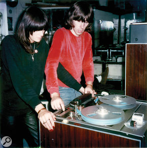 Cosey Fanni Tutti and Chris Carter with a  Studer eight-track rented from Britannia Row, at the TG/IR studio, 1980.