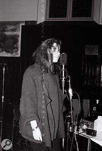Margo Timmins was positioned about 30 feet from the main mic singing into another Soundfield mic. This was then fed into the Klipsch Heresy monitor placed in front of the main Soundfield mic.