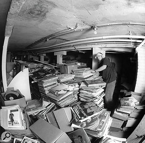 The legendary basement of Rare Records in Sacramento.