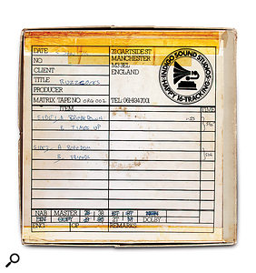 The tape box for the Spiral Scratch EP. The master tapes were reused by the studio, possibly to record Little & Large...