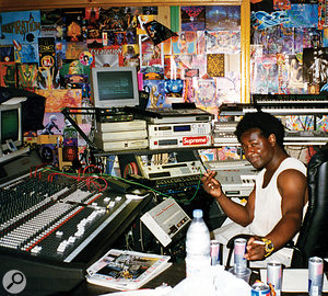 Judging by the copy of SOS in the foreground of this photo, we can assume it was taken in the summer of 1996. By this time A  Guy Called Gerald was one of the pioneers of drum and bass and the Roland gear has largely been replaced by Akai equipment.