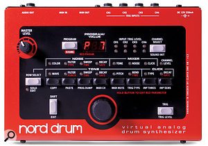 The Nord Drum is small enough to fit in anyone's drum bag, its front panel measuring just 19 x 14cm.