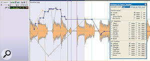 You can generate automation data from software knob/fader movements or from an external MIDI controller, or draw it in using a mouse, and the resulting envelopes are all superimposed on the audio waveform or MIDI data, which makes it easy to synchronise your moves.